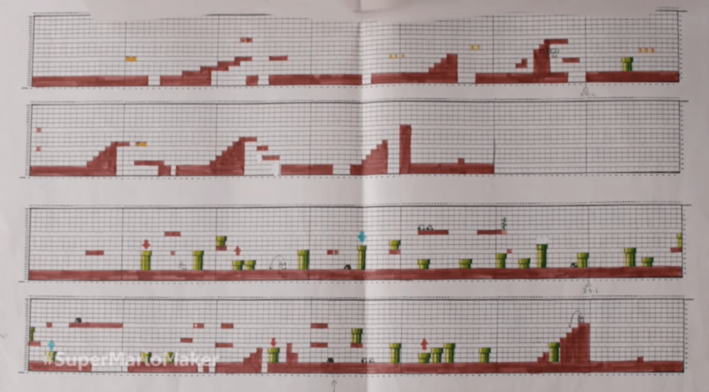 Nintendo used to design super mario levels on graph paper for Blueprint creator