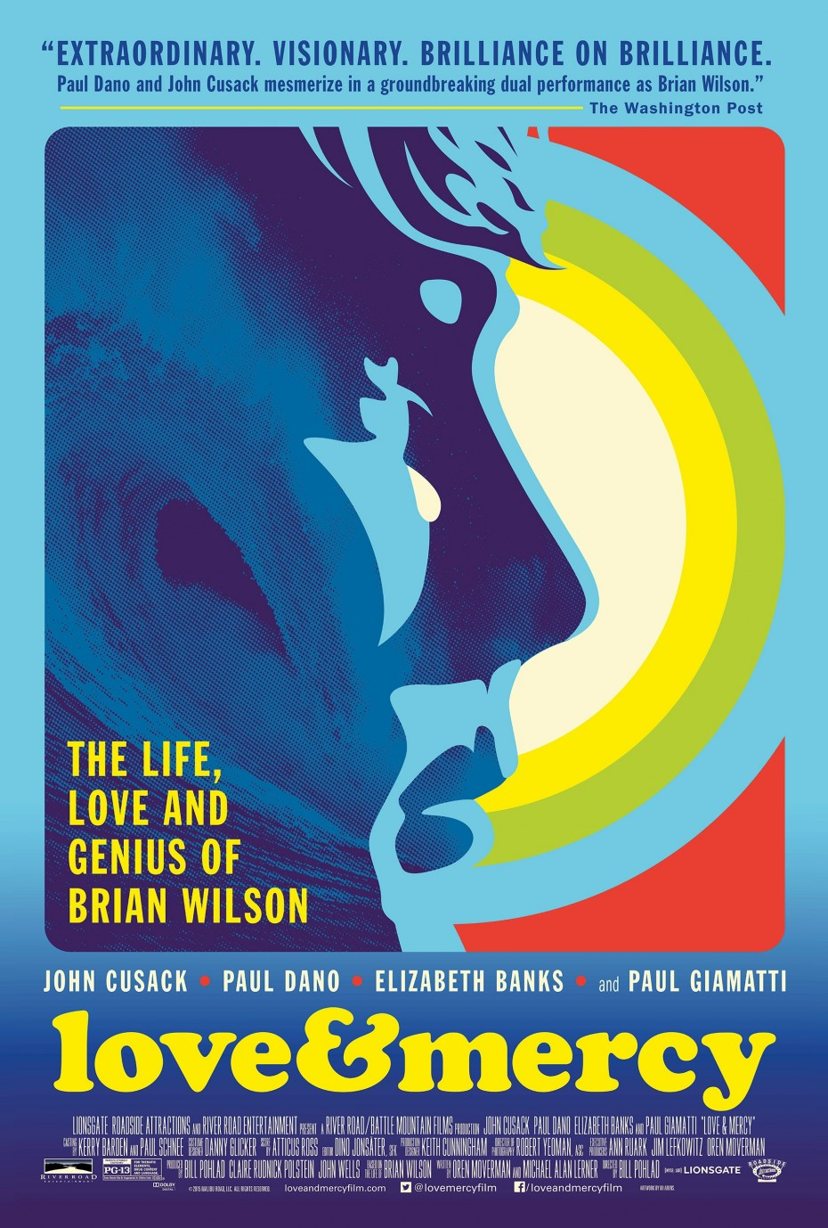"""The official movie poster for """"Love & Mercy,"""" designed by Kii Arens [lalalandprints.com]"""