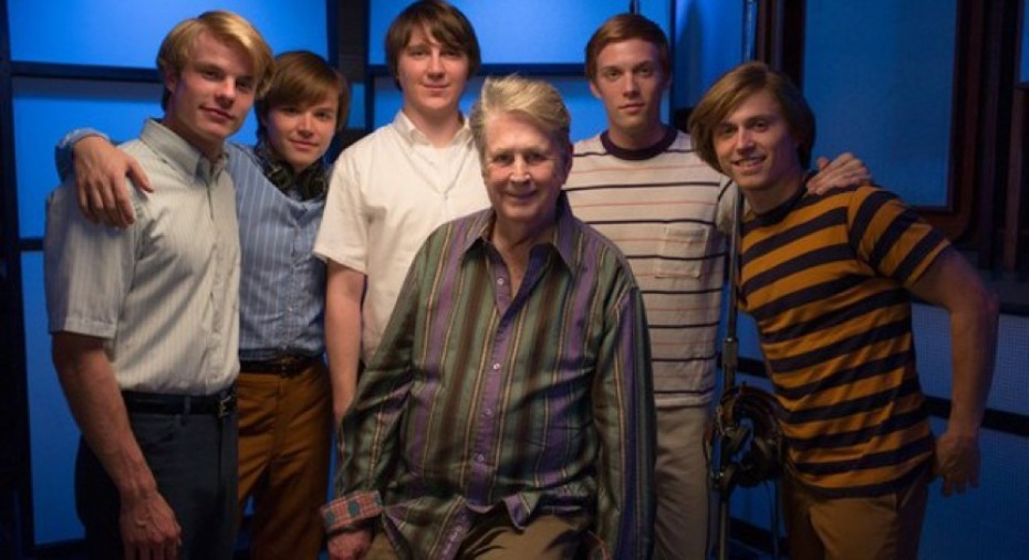 """The real Brian Wilson, surrounded by the actors who play him (Paul Dano) and his fellow members of the Beach Boys in the movie """"Love & Mercy."""""""