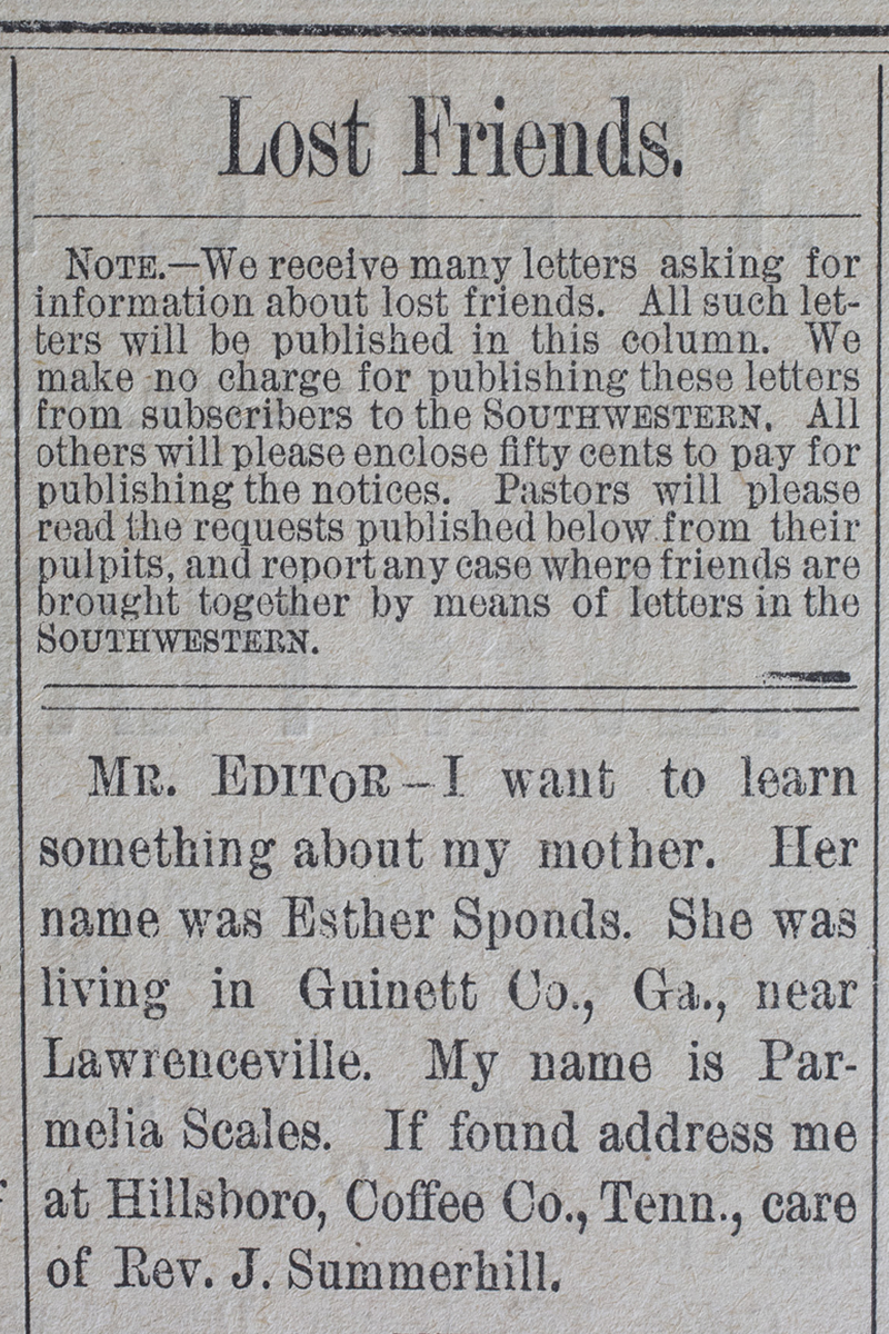 Database: Old newspaper ads searching for loved ones lost