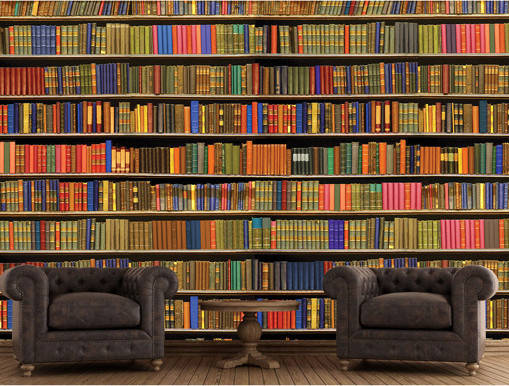 Giant bookshelf mural boing boing for Bookshelf mural wallpaper