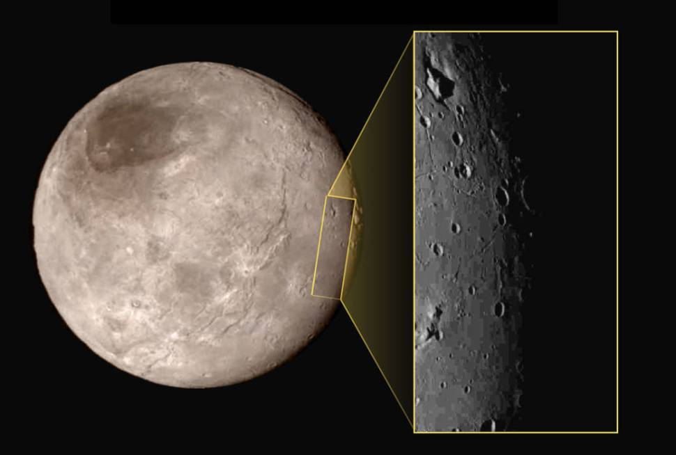This new image of an area on Pluto's largest moon Charon has a captivating feature—a depression with a peak in the middle, shown here in the upper left corner of the inset. [NASA]
