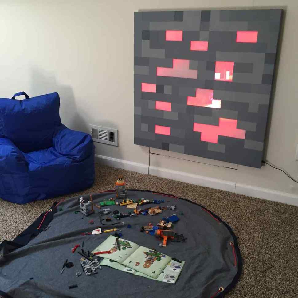 Father Builds Glowing Life Sized Minecraft Block For Sons Birthday