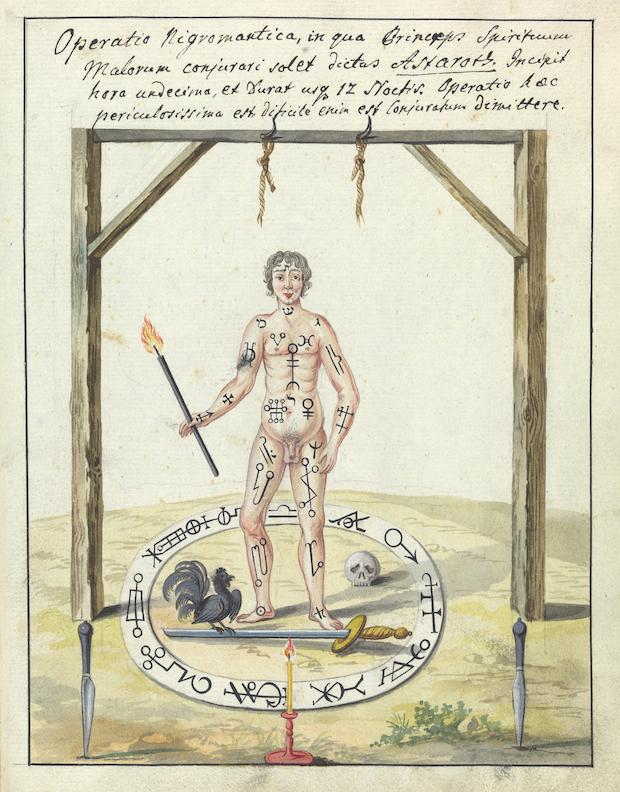 Illustration of a magic circle ritual. Credit: Wellcome Library, London.