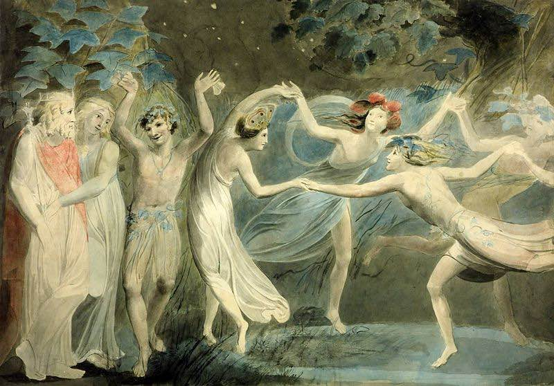 800px-Oberon,_Titania_and_Puck_with_Fairies_Dancing._William_Blake._c.1786