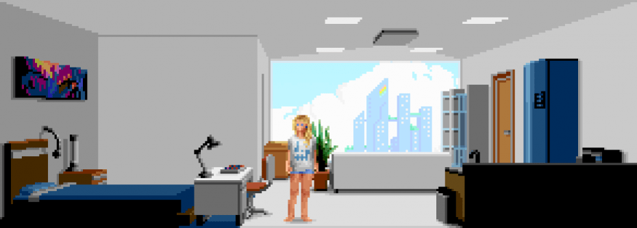 an adventure game that teaches you how to draw pixel art offworld