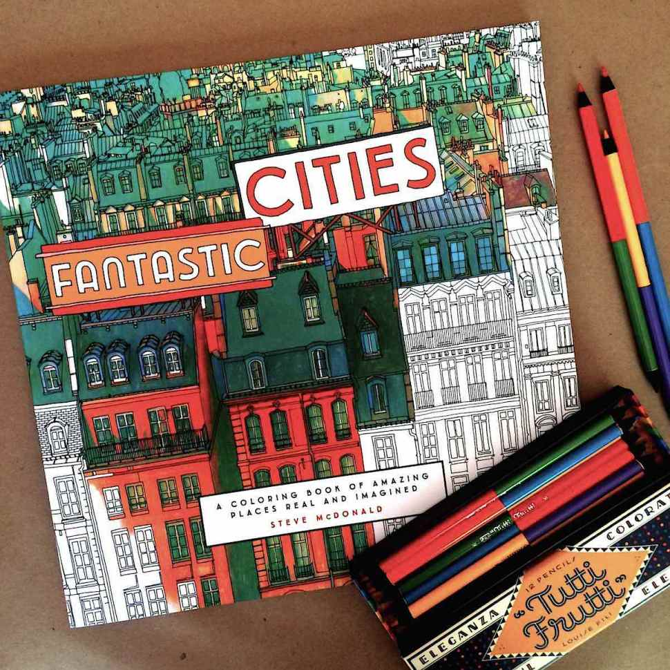 Spend A Summer Afternoon With Fantastic Cities Coloring Book And Tutti Frutti Rainbow Colored Pencils Boing