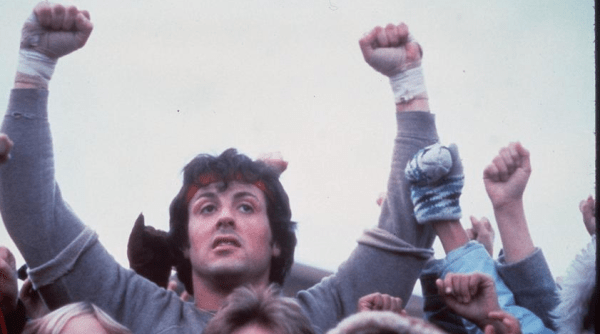 "Sylvester Stallone in the movie ""Rocky 2."""