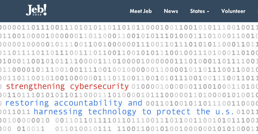 OH NOES it's this tired old design trope again in the Cybersecurity Report release on Jeb Bush's campaign website.