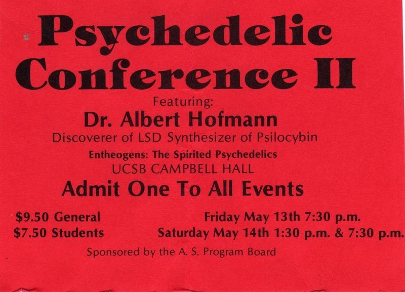 Admission Ticket for Santa Barbara Psychedelic Conference II