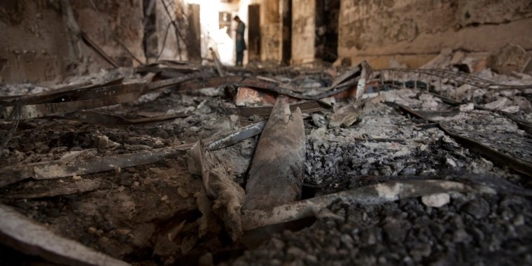Debris litters the floor in MSF's Kunduz Trauma center. [Photo: MSF]