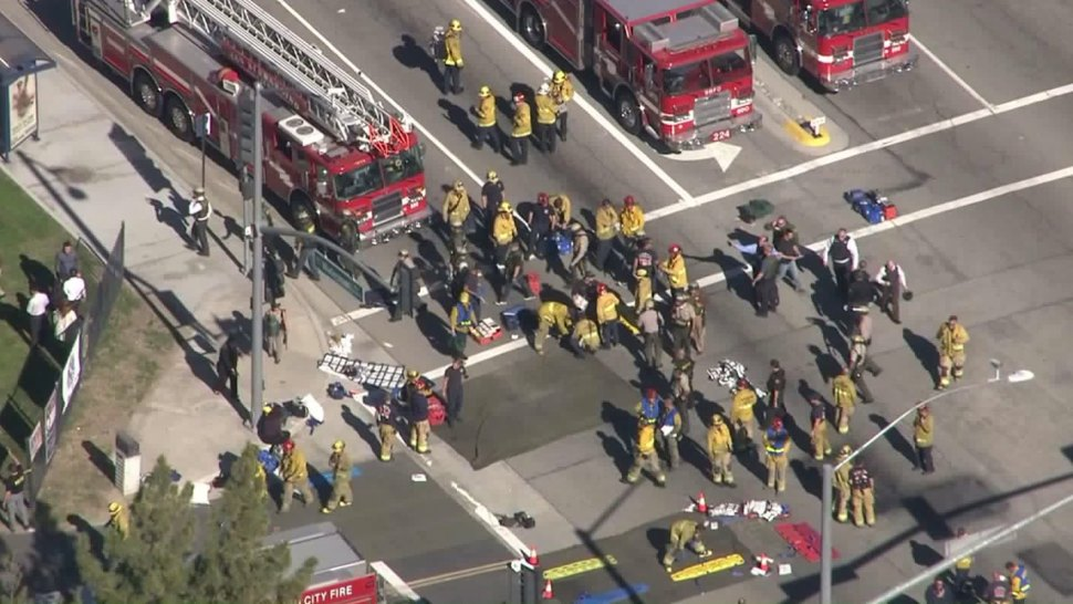 Firefighters set up triage areas in response to an active shooter incident in San Bernardino on Dec. 2, 2015. (Image: KTLA)