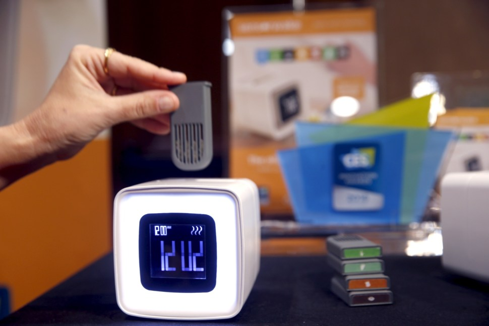 An aroma module is inserted into a Sensorwake alarm clock. The $109 olfactory alarm clock releases the scents at the programmed time but will also sound an auditory alarm if you don't wake up after three minutes. REUTERS
