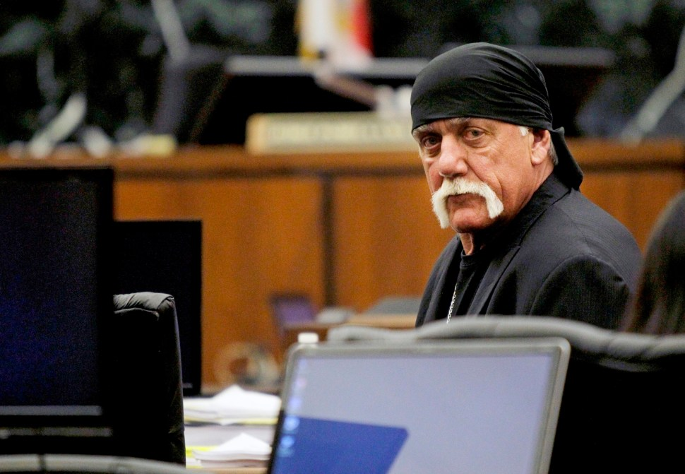 Terry Bollea, aka Hulk Hogan, sits in court during his trial against Gawker Media, in St Petersburg, Florida March 17, 2016.  Reuters
