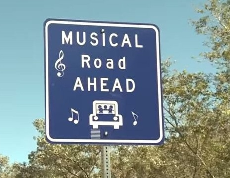 "The singing road that plays ""America the Beautiful ..."