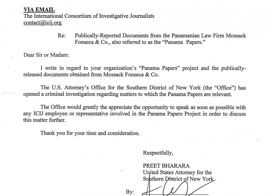 Letter from the Department of Justice to the International Consortium of Investigative Journalists stating they have opened an investigation.