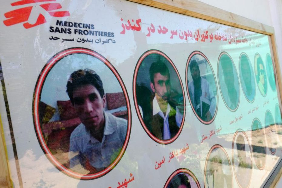 A sign honors 14 medical personnel killed when a U.S. airstrike destroyed the MSF hospital in Kunduz. REUTERS