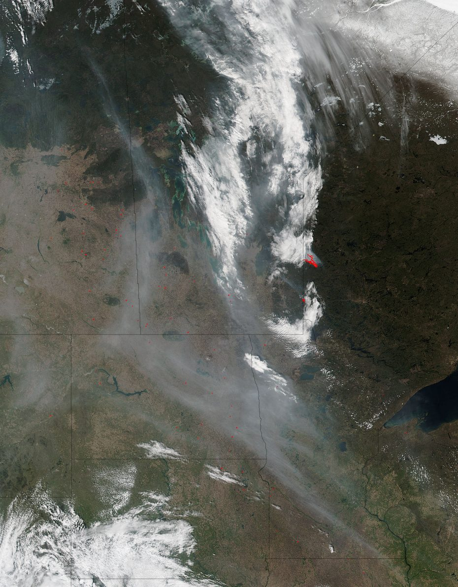 The Suomi NPP satellite captured this image on May 08, 2016, of the wildfires currently burning in Canada. [NASA/NOAA/DOD]