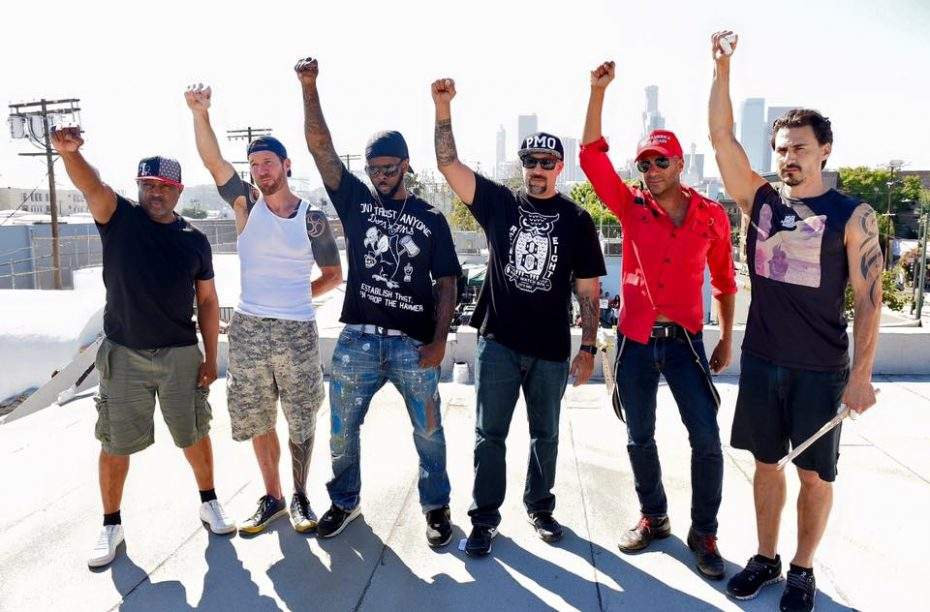 Prophets Of Rage, just before playing a show on Skid Row in LA, 2016.  Photo: Kevin Winter, via Prophets of Rage on Facebook