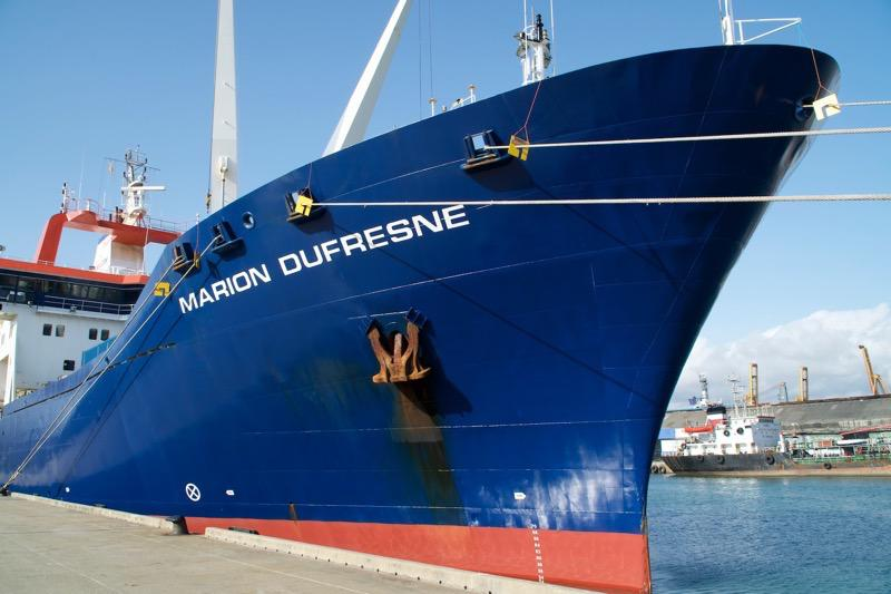 At 120 meters long, the Marion Dufresne is the largest research vessel in the French fleet. Here it is at the dock in Colombo, Sri Lanka, where our voyage began.