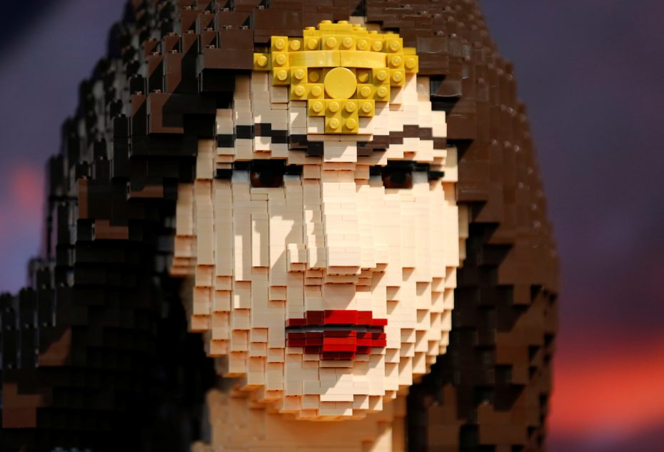 The face of a life sized Wonder Woman made from Lego is shown in the Lego booth at Comic-Con, July 22, 2016. REUTERS