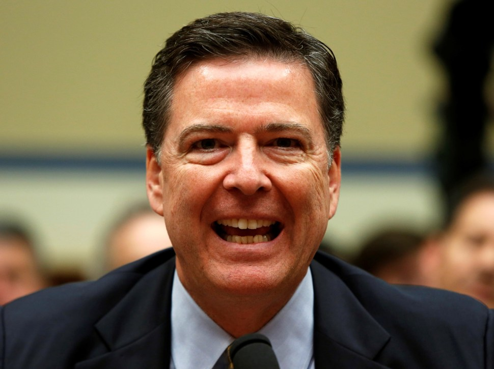 """FBI Director James Comey testifies before a House Oversight and Government Reform Committee on the """"Oversight of the State Department"""" in Washington U.S. July 7, 2016.  REUTERS/Gary Cameron - RTX2K7E6"""