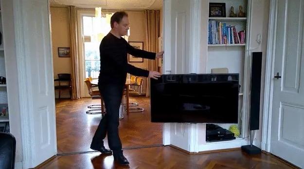 Man Hides Tv In Sliding Door Boing Boing