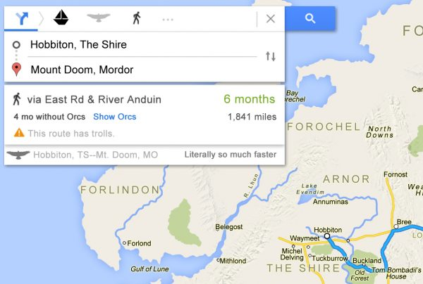 Frodo's trip to Mordor as a Google Map / Boing Boing on