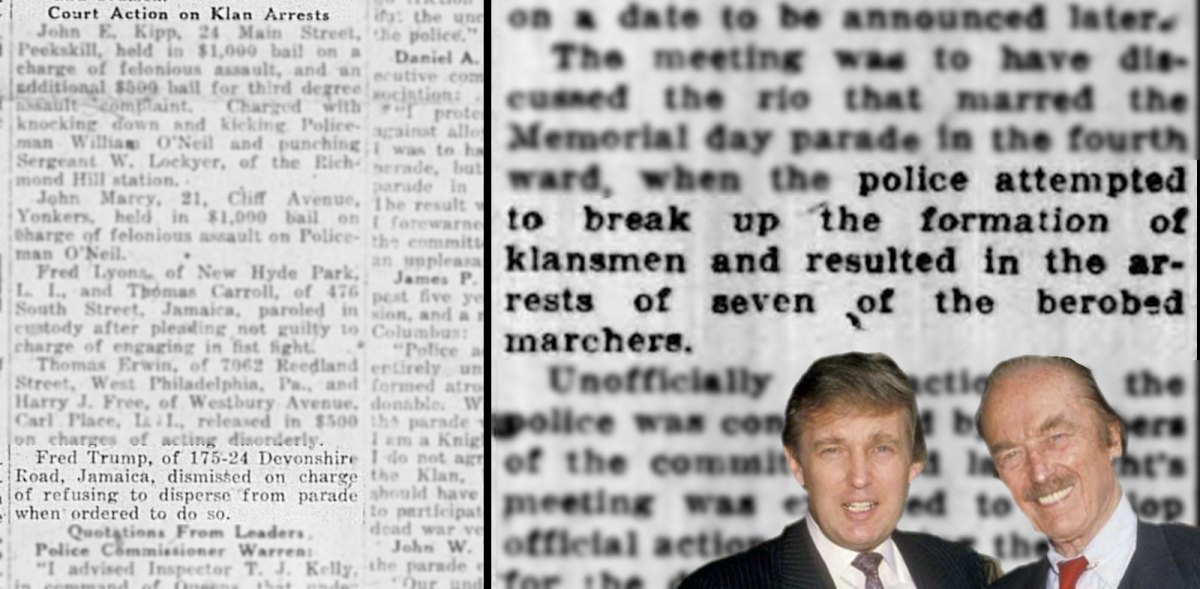 Reports confirm Donald Trump's dad was arrested at Klan rally, and that those arrested were ...