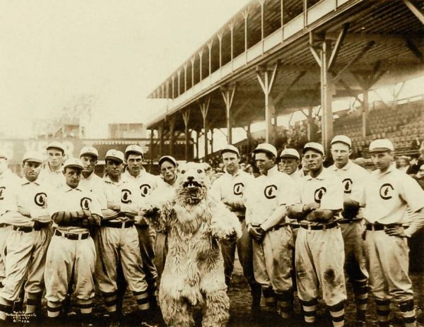 The 1908 World Champion Chicago Cubs. Yes, that's supposedly a cub mascot.