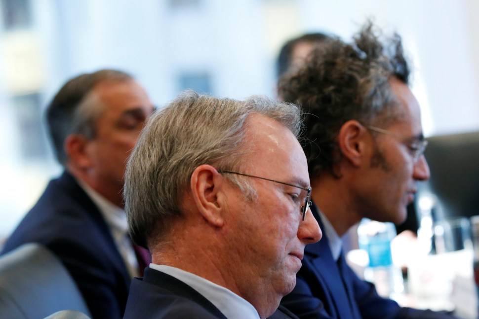 Eric Schmidt, chairman of Alphabet Inc., sits during a meeting with U.S. President-elect Donald Trump and technology leaders at Trump Tower in New York U.S., December 14, 2016. REUTERS