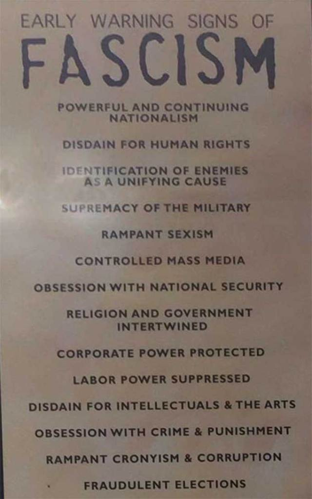Handy checklist for people interested in implementing a fascist takeover