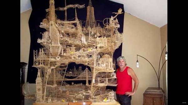 Scott Weaver's incredible toothpick sculptures