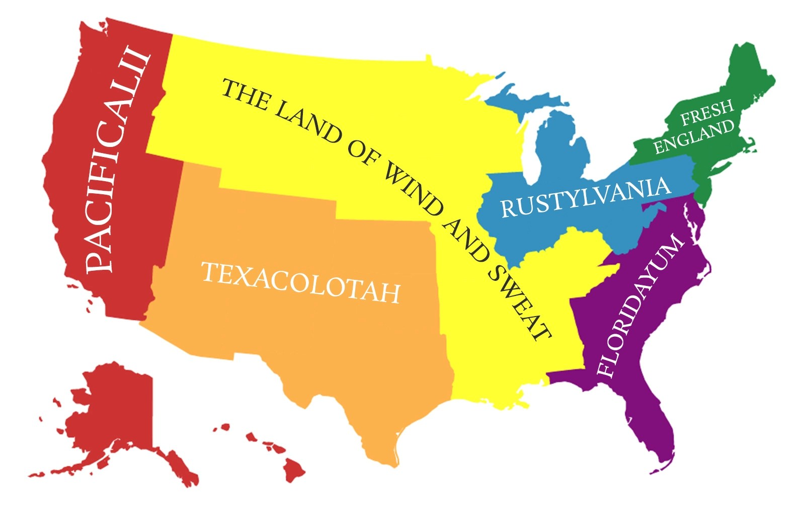 America Divided Into States With The Population Of England