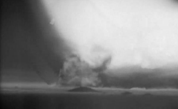 Slow-motion footage of an airburst nuclear explosion hitting the ground