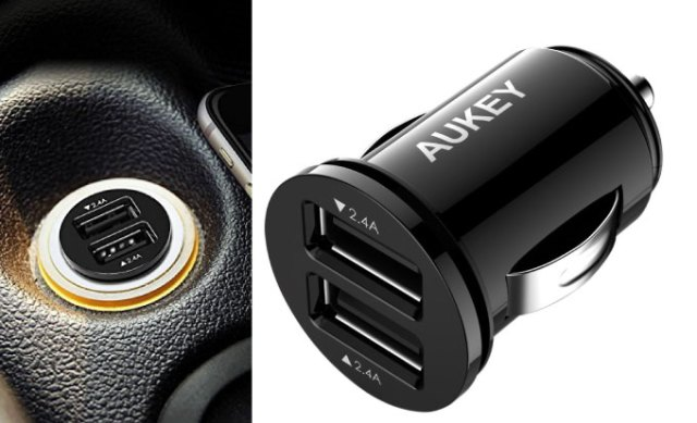 Tiny flush-fit dual USB adapter for cars