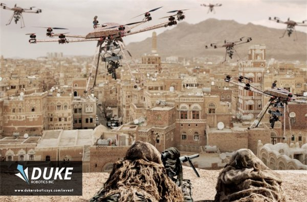 Company's dystopian promotional video for drone armed with machine gun