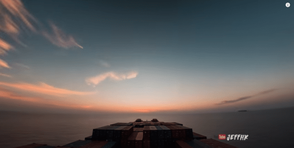 Remarkable timelapse of a cargo ship at sea