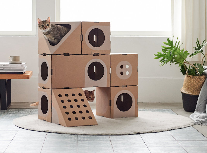 create modular cat houses with these carboard building. Black Bedroom Furniture Sets. Home Design Ideas