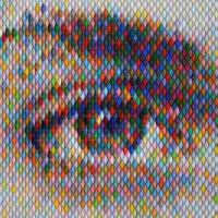 Pointillist paint swatch art: Peter Combes portraits ...