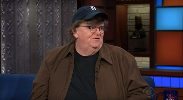 Michael Moore shares details of his new anti-Trump documentary with Stephen Colbert