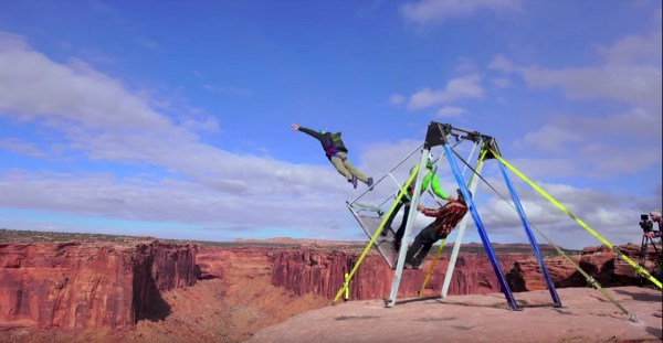 Watch how these BASE jumpers created a giant swing stunt
