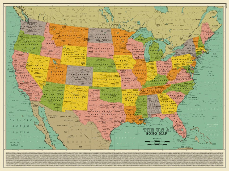 A cool retro map of USA song les / Boing Boing Map Of on early world maps, contour line, geographic coordinate system, satellite imagery, map projection, aerial photography, global map, geographic information system,