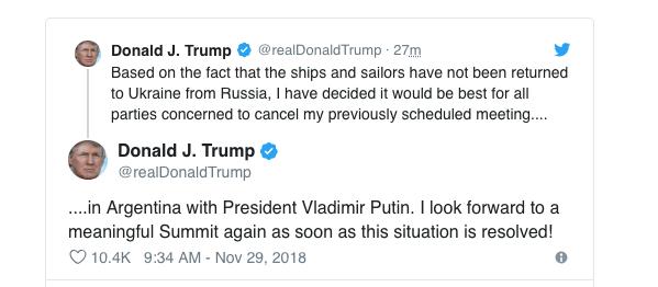 on twitter trump cancels putin g20 meeting but kremlin says they