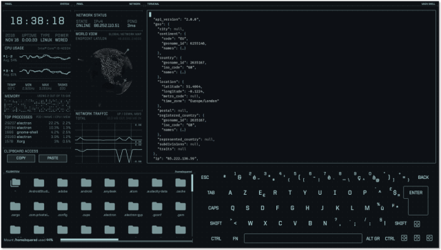 A science-fiction-inspired desktop UI for your Lin/Win/Mac system