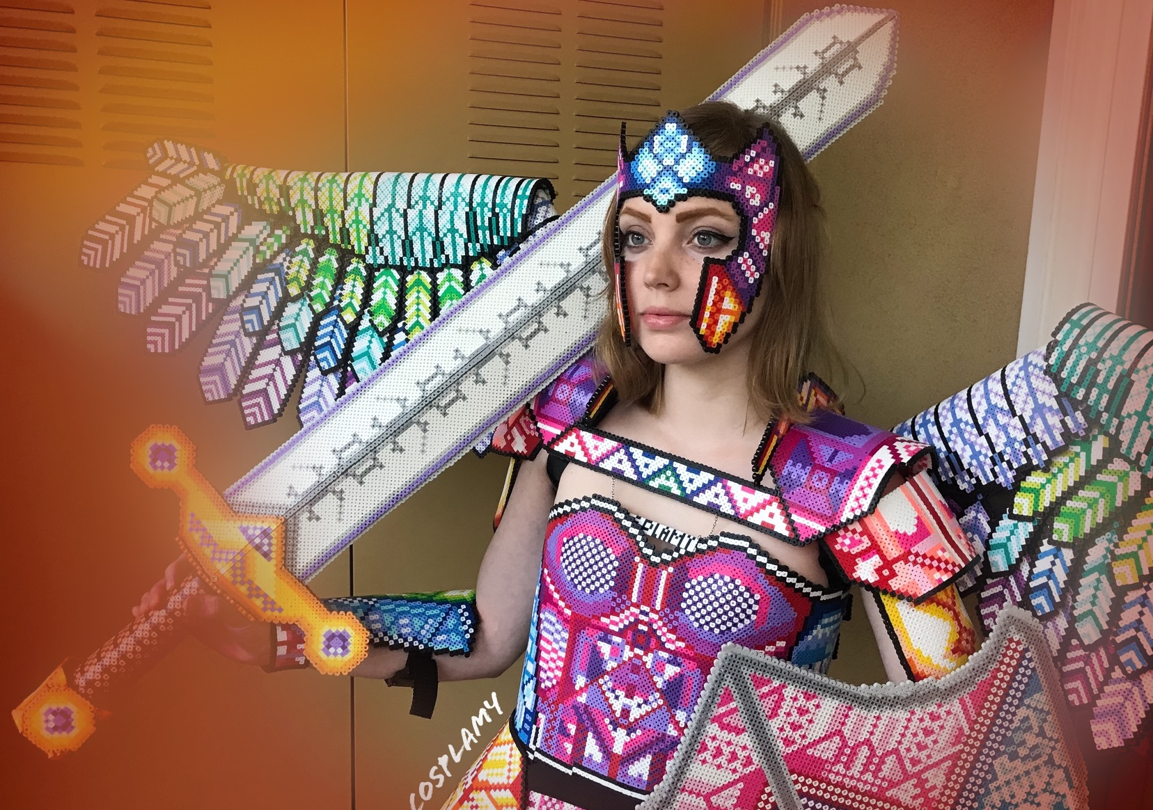 hight resolution of the art of cosplay fuse bead armor by cosplay amy cosplamy