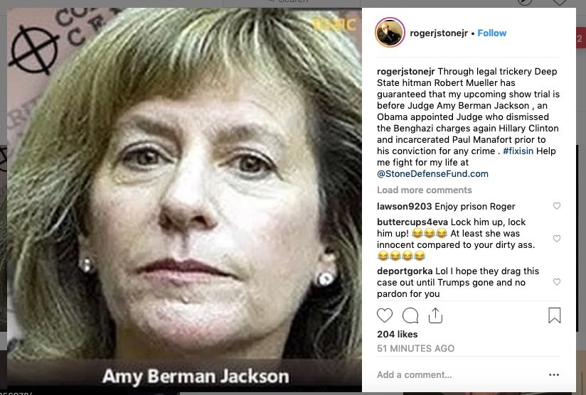 Judge Amy Berman Jackson imposes gag order on Roger Stone, can no longer speak publicly about the investigation or case
