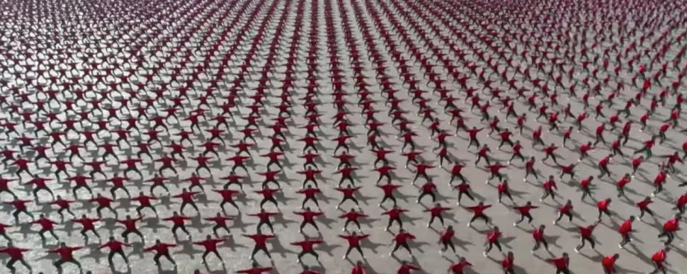 Incredible clip of Shaolin Kung Fu seen from above