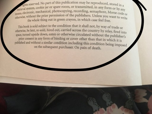 Author hid funny messages on the copyright page of his book
