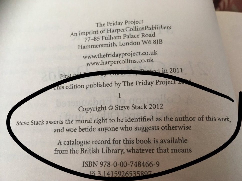 Author hid funny messages on the copyright page of his